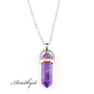 Natural AMETHYST 925 Sterling Silve Peace Necklace